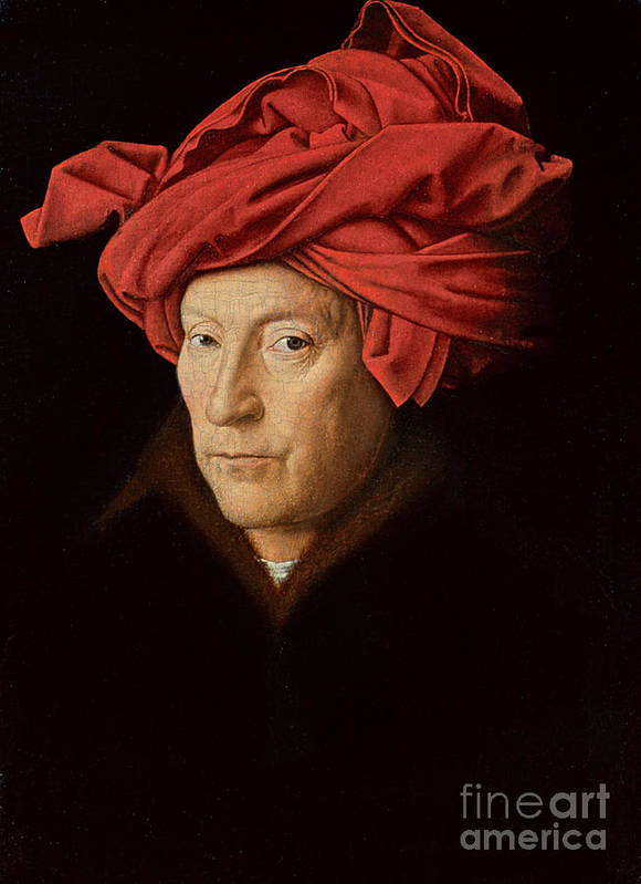 Red; Headdress; Male; Portrait; Fur-trimmed Coat; Frame; Framed; Male; Portrait; Turban; Portrait Poster featuring the painting Portrait Of A Man by Jan Van Eyck