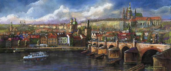 Pastel Poster featuring the painting Prague Panorama Charles Bridge Prague Castle by Yuriy Shevchuk