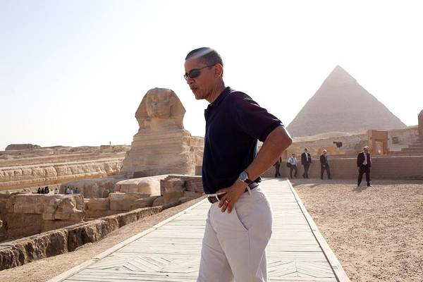 History Poster featuring the photograph President Obama Tours The Egypts Great by Everett