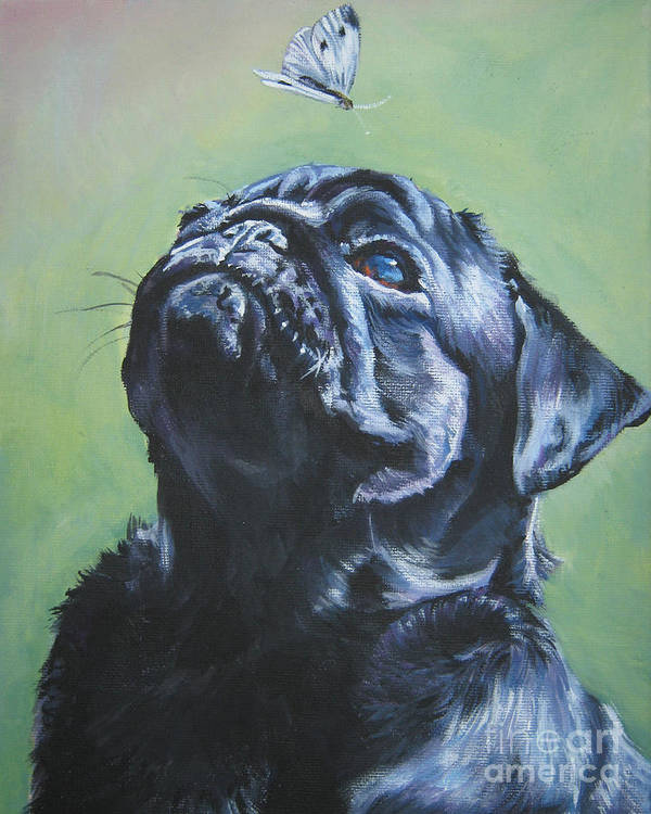 Dog Poster featuring the painting Pug Black by Lee Ann Shepard