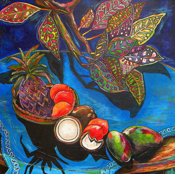 Tropical Poster featuring the painting Purple Pineapple by Patti Schermerhorn
