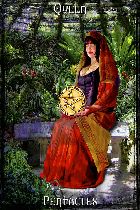Divine Poster featuring the digital art Queen Of Pentacles by Tammy Wetzel