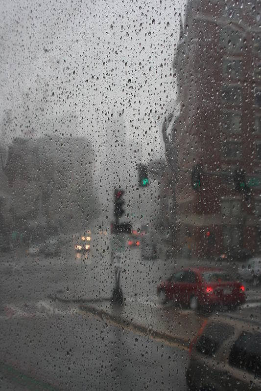 Cityscape Poster featuring the photograph Rainy Days In Boston by Julie Lueders