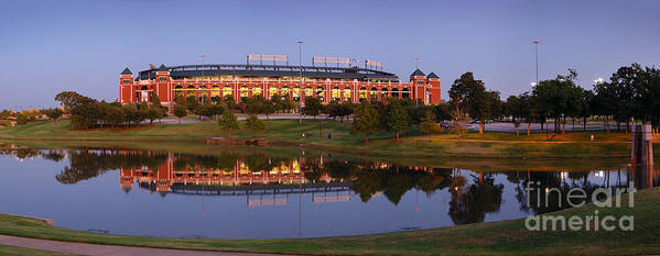 Texas Rangers Ballpark In Arlington Poster featuring the photograph Rangers Ballpark In Arlington At Dusk by Jon Holiday