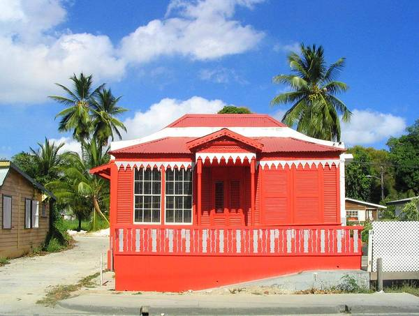 Chattel House Poster featuring the photograph Red Chattel House by Barbara Marcus