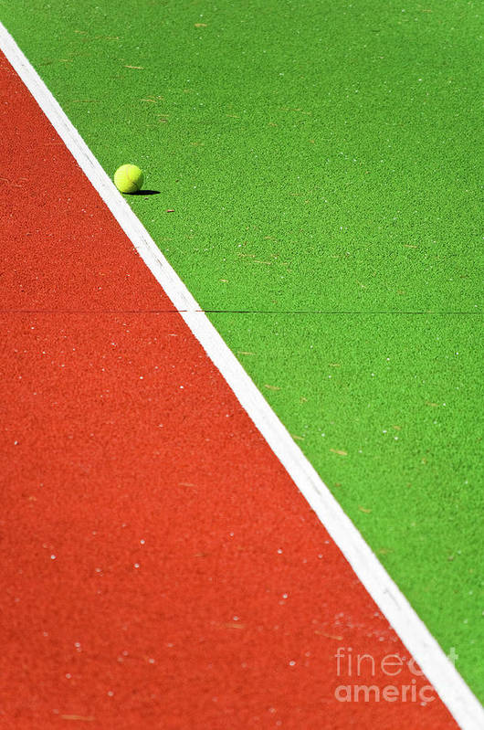 Tennis Poster featuring the photograph Red Green White Line And Tennis Ball by Silvia Ganora