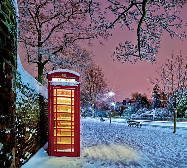 Horizontal Poster featuring the photograph Red Phone Box Covered In Snow by Photo by John Quintero