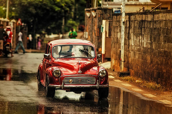 Morris Minor Poster featuring the photograph Red Retromobile. Morris Minor by Jenny Rainbow