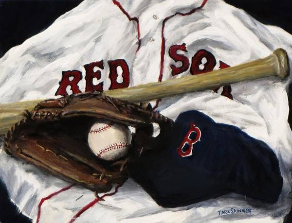 Baseball Poster featuring the painting Red Sox Number Nine by Jack Skinner