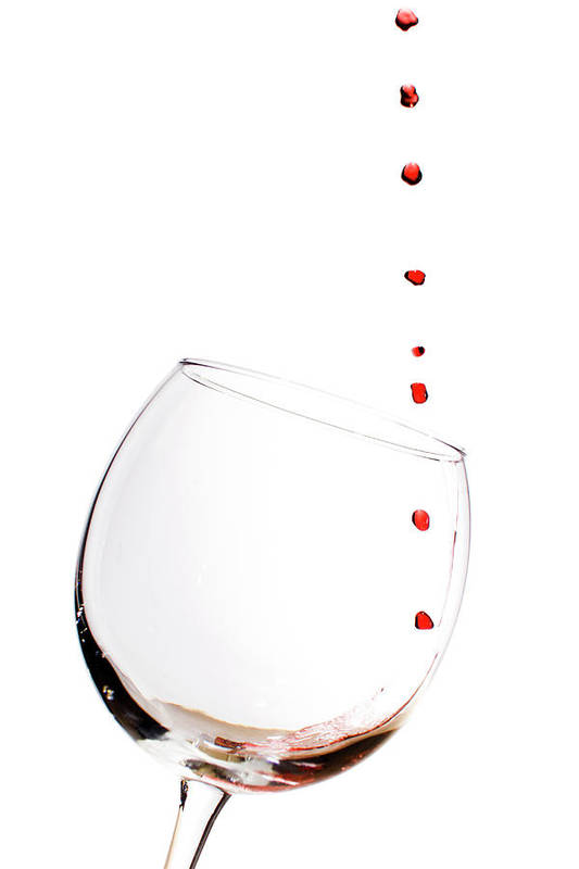 Red Wine Poster featuring the photograph Red Wine Drops Into Wineglass by Dustin K Ryan