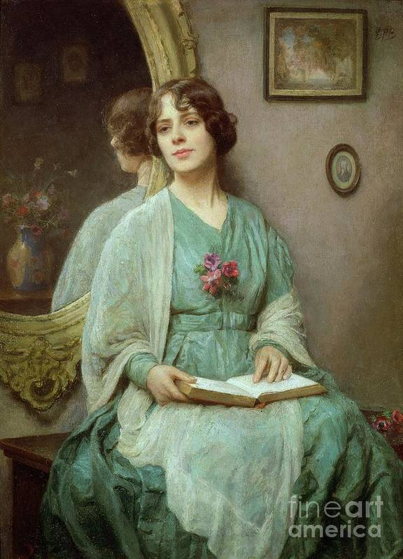 Reflections (oil On Canvas) By Ethel Porter Bailey (fl.1908-27) Poster featuring the painting Reflections by Ethel Porter Bailey