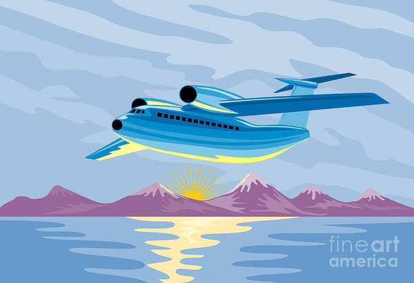 Airplane Poster featuring the digital art Retro Airliner Flying by Aloysius Patrimonio