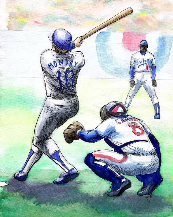 Nostalgia Poster featuring the drawing Rick Monday by Mel Thompson
