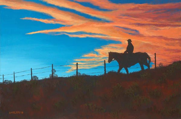 Cowboy Poster featuring the painting Riding Fence by Jerry McElroy