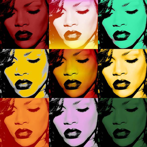 Rihanna Poster featuring the digital art Rihanna Warhol By Gbs by Anibal Diaz