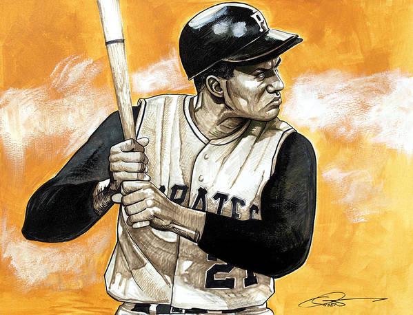 Roberto Clemente Poster featuring the drawing Roberto Clemente by Dave Olsen