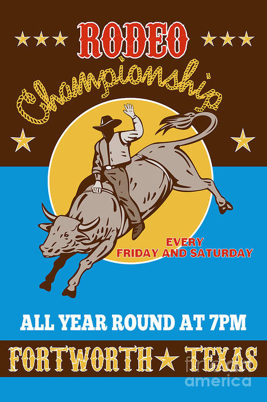 Rodeo Poster featuring the digital art Rodeo Cowboy Bull Riding Poster by Aloysius Patrimonio