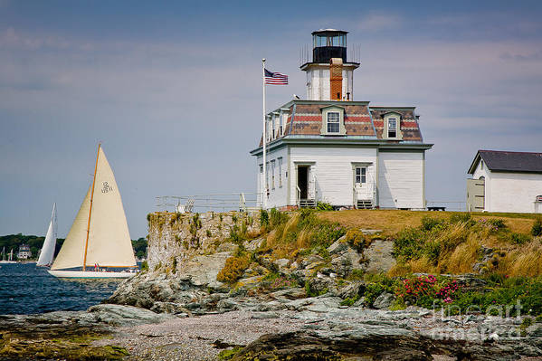 Bay Poster featuring the photograph Rose Island Light by Susan Cole Kelly