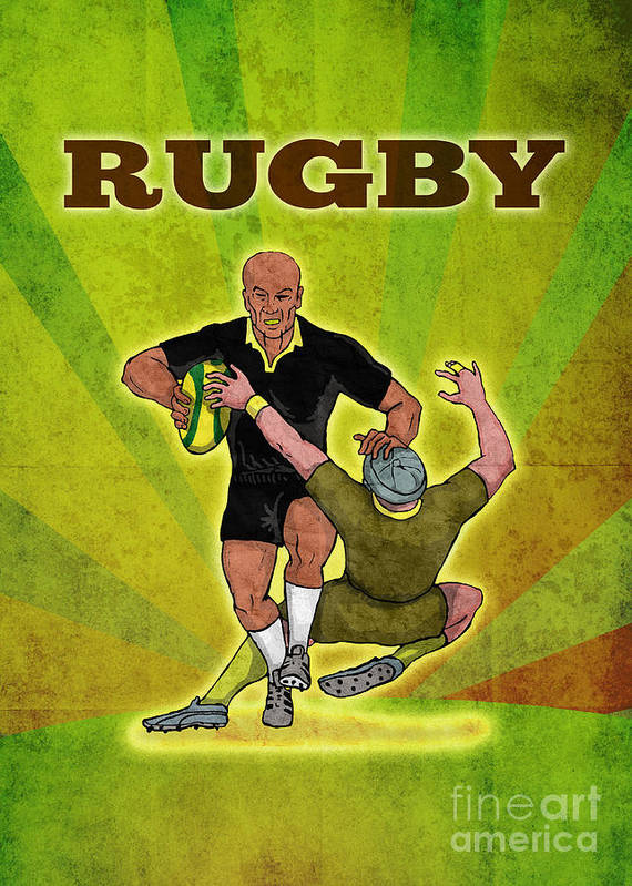 Rugby Poster featuring the digital art Rugby Player Running Attacking With Ball by Aloysius Patrimonio