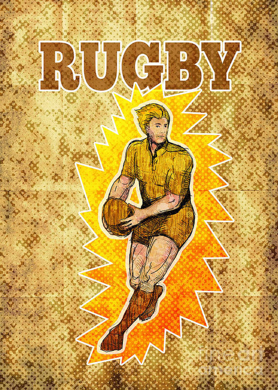 Rugby Poster featuring the digital art Rugby Player Running Passing Ball by Aloysius Patrimonio