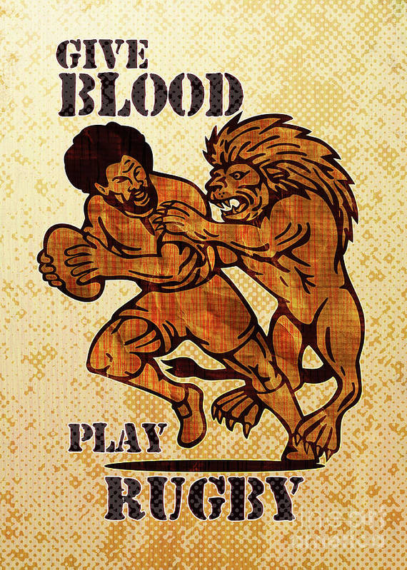 Rugby Poster featuring the digital art Rugby Player Running With Ball Attack By Lion by Aloysius Patrimonio