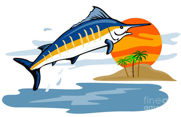 Fish Poster featuring the digital art Sailfish Island by Aloysius Patrimonio