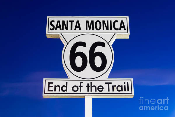 California Poster featuring the photograph Santa Monica Route 66 Sign by Paul Velgos