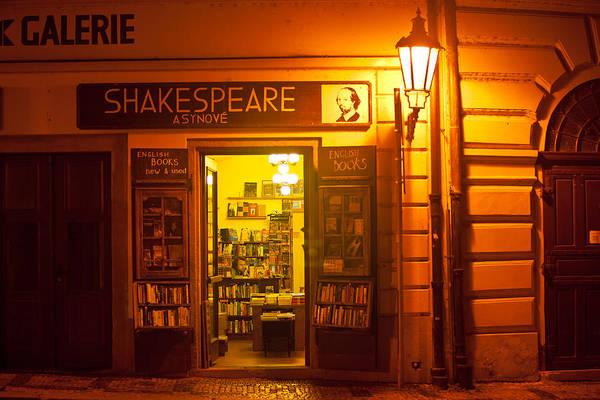 Prague Poster featuring the photograph Shakespeares' Bookstore-prague by John Galbo