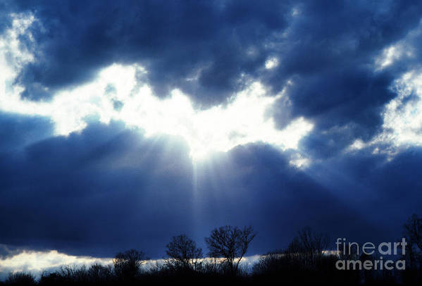 Sun Rays Breaking Through Clouds Poster featuring the photograph Shining Glory by Thomas R Fletcher