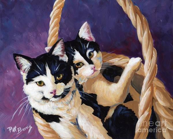 Cat Poster featuring the painting Sisters by Pat Burns