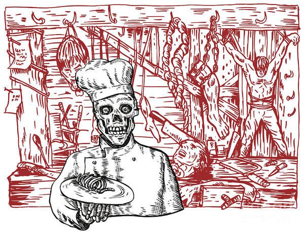 Illustration Poster featuring the digital art Skull Cook by Aloysius Patrimonio