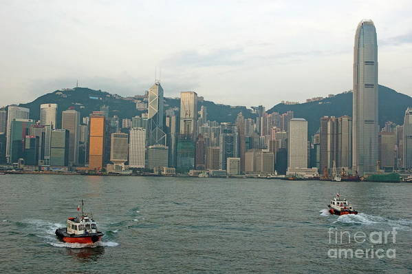 Asia Poster featuring the photograph Skyline From Kowloon With Victoria Peak In The Background by Sami Sarkis