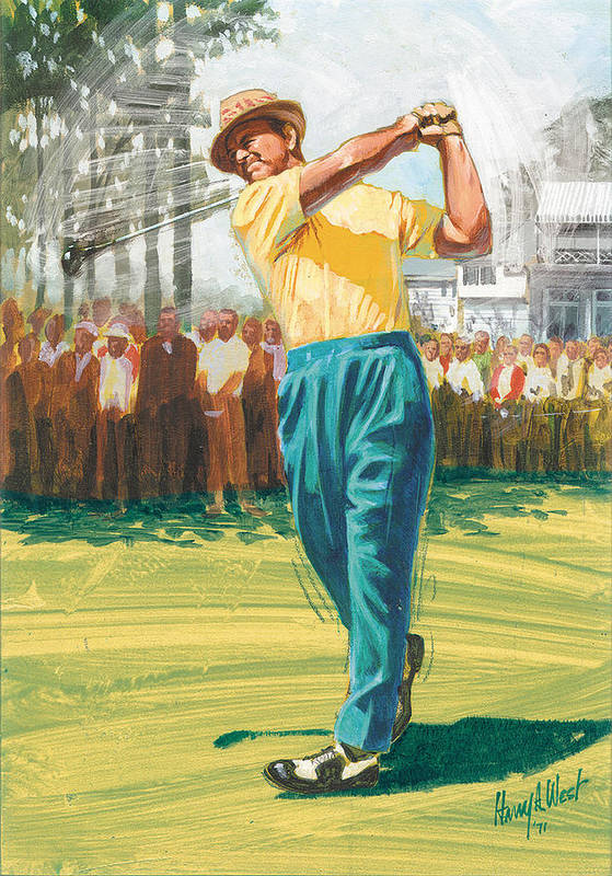 Sam Snead Poster featuring the painting Slam'n Sammy by Harry West