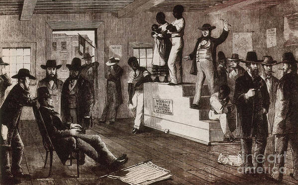 History Poster featuring the photograph Slave Auction In Virginia by Photo Researchers