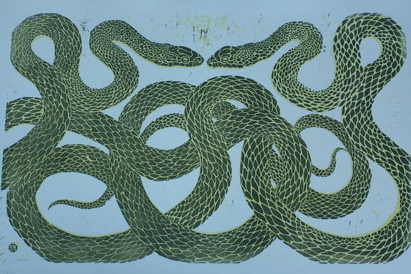 Nature Poster featuring the mixed media Snake Council by Pati Hays