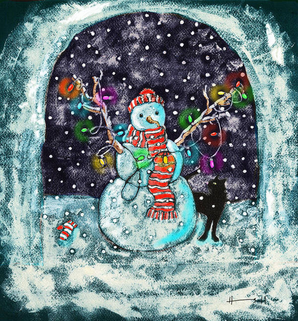 Christmas Card Art Poster featuring the painting Snowman And Cat by Catherine Martha Holmes