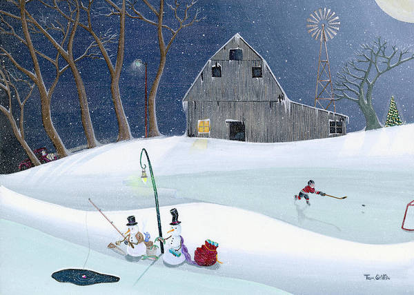Snowman Poster featuring the painting Snowmen On Hockey Pond by Thomas Griffin