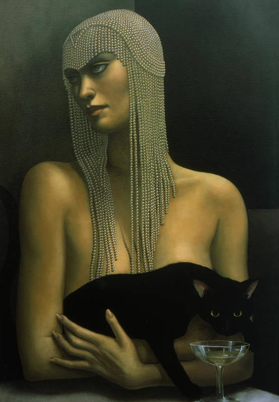 Cat Poster featuring the painting Solitare by Jane Whiting Chrzanoska