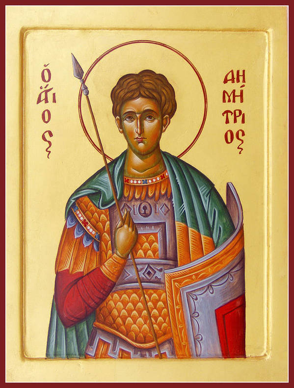 St Demetrios Poster featuring the painting St Demetrios The Great Martyr And Myrrhstreamer by Julia Bridget Hayes