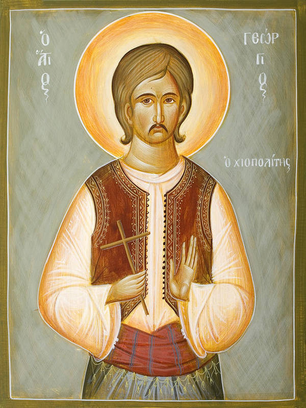 Saint Poster featuring the painting St George The New Martyr Of Chios by Julia Bridget Hayes