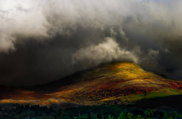 Cumbria Poster featuring the photograph Storm Brewing Over Hawkshead by Meirion Matthias