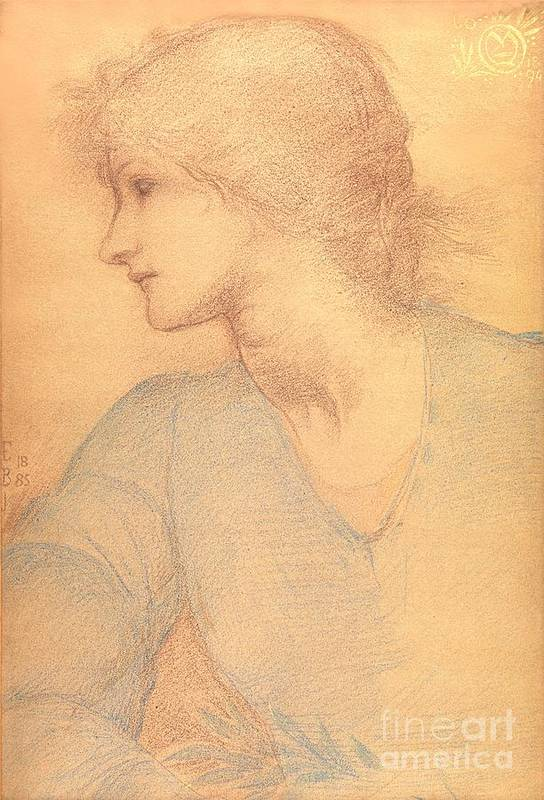 Study In Coloured Chalk Poster featuring the drawing Study In Colored Chalk by Sir Edward Burne-Jones