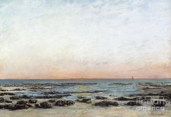 Sunset Poster featuring the painting Sunset by Gustave Courbet