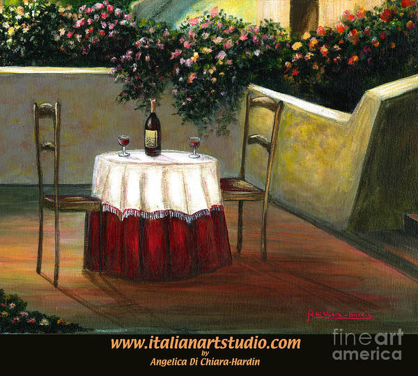 Angelica Dichiara Poster featuring the painting Sunset Table by Italian Art