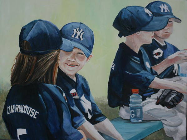 T Ball Poster featuring the painting T Ball Friends by Charlotte Yealey