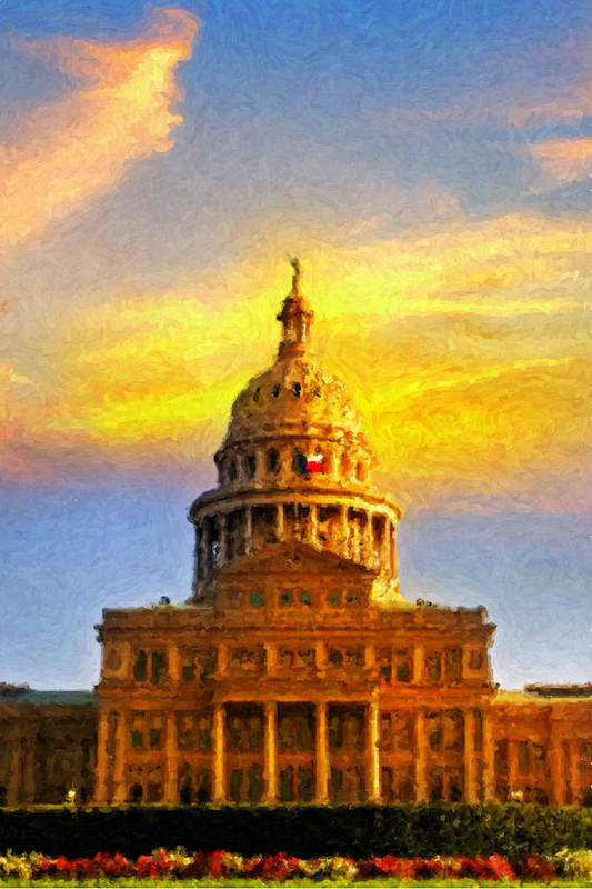 Dallas Poster featuring the painting Texas Capitol At Sunset Austin by Jeff Steed