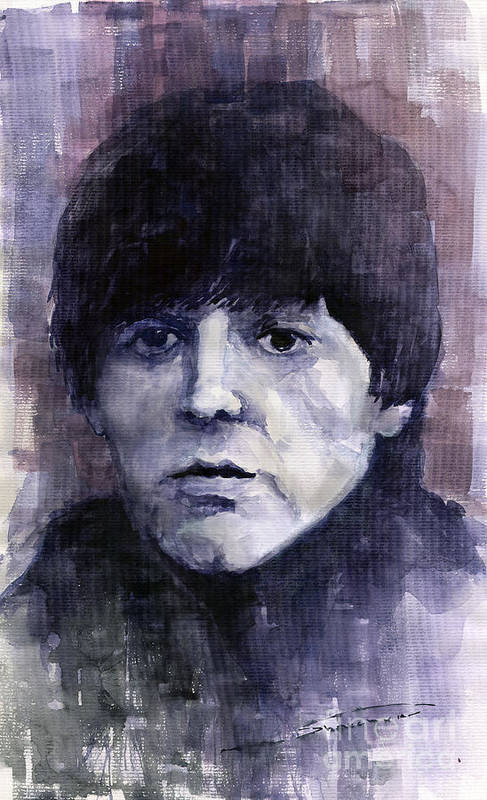 Watercolor Poster featuring the painting The Beatles Paul Mccartney by Yuriy Shevchuk
