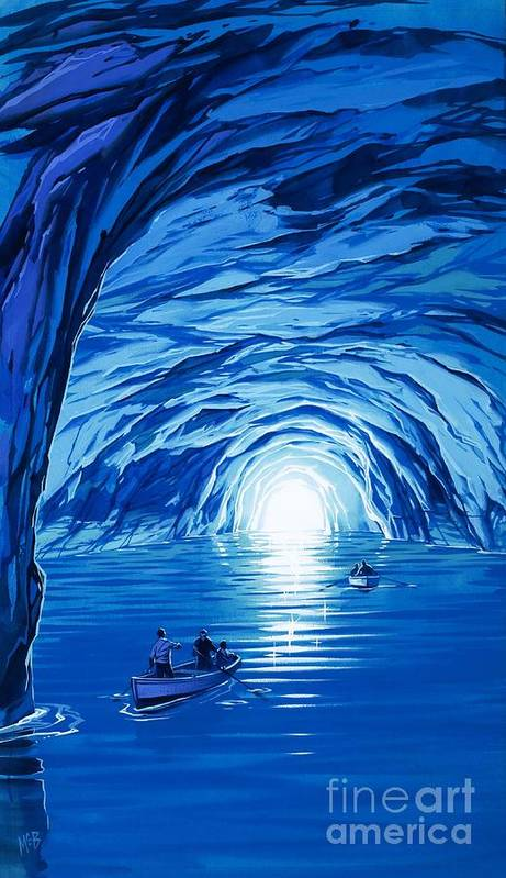 Blue Grotto; Capri; La Grotta Azzurra; Italy; Cave; Sea; Mediterranean; Blue; Colour Poster featuring the painting The Blue Grotto In Capri By Mcbride Angus by Angus McBride