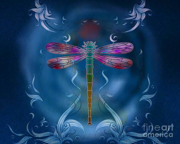 Dragonfly Poster featuring the digital art The Dragonfly Effect by Bedros Awak