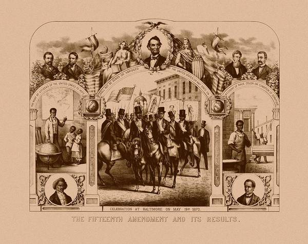 Black History Poster featuring the drawing The Fifteenth Amendment And Its Results by War Is Hell Store